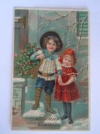 Cpa Fantaisie Bonne Année Enfants Avec Fleurs Kinderen Carte Dorée Relief Gaufrée Glacée Circulée 1911 Imp 1149 - Fantasie