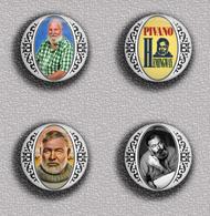 Writer Nobel Prize In Literature Ernest Miller Hemingway-1954 PIN's SET 1 (1inch/25mm Diameter) 35 DIFF - Celebrities