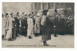 Funérailles Du Roi Léopold II, 22 Décembre 1909.  L'entrée Du Corps à Ste Gudule. - Funérailles