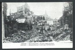 +++ CPA - LOUVAIN - LEUVEN - Rue De Bruxelles - Vue Vers Eglise St Pierre - Ruines - Guerre   // - Leuven