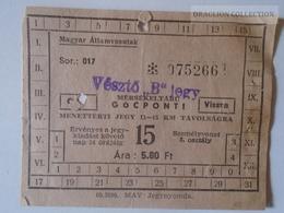 ZA112.16   Railway Ticket Hungary  VÉSZTŐ Ca 1950-60 - Titres De Transport