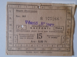 ZA112.16   Railway Ticket Hungary  VÉSZTŐ Ca 1950-60 - Transportation Tickets