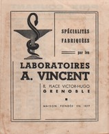 Santé -Hygiène/Pharmacie/Laboratoires A VINCENT / Spécialités Fabriquées/Tarifs /GRENOBLE/  1955         PARF163 - Perfume & Beauty