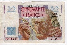 Billet De 50 Francs Le Verrier 1950 24 8 K - 1871-1952 Circulated During XXth
