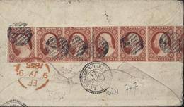 USA YT N°4 Washington Scott N11a Affranchissement Exceptionnel Bande De 7 X 3ct 21ct Par Voie Américaine Pour France - Used Stamps