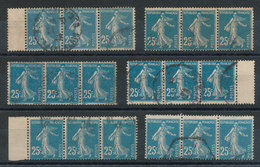 140 Semeuse 25c Bleu (o) Lot De 18 Timbres En Bandes De 3 - Types Et Couleurs à Définir - 1906-38 Semeuse Con Cameo