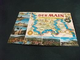 CARTA GEOGRAFICA DERMAIN VON WURZBURG BIS FRANKFURT  VEDUTE BOTTIGLIA VINO UVA - Carte Geografiche