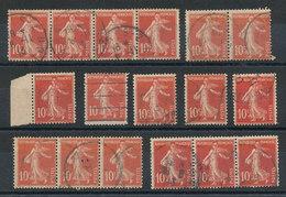 138 Semeuse 10c Rouge - Lot De 17 Timbres - 1906-38 Sower - Cameo