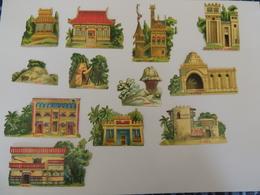 Découpis  Pavillon Exposition Universelle 1889 Soudan Chine, Architecture -chromo -  1H3 - Découpis