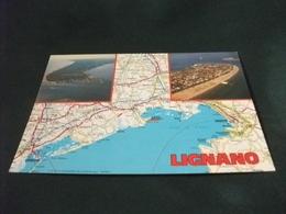 CARTA GEOGRAFICA LIGNANO  VEDUTE TRIESTE - Carte Geografiche