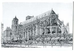 CPM 18 BOURGES Marcel BASCOULARD ( Cathédrale - Dessin ) Tirage Limité - Bourges