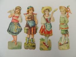 4 Découpis Enfants Fileuse De Laine, Porteuse D'eau Fille Aux Colombes  -chromo -  1I4 - Découpis