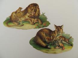 2 Découpis Loup Et Louveteau Lion Et Lionceau Animaux Sauvages  -chromo -  1J2 - Découpis