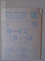 ZA115.5   Hotel Don Juan  LLORET DE  MAR Gerona - Card - Vieux Papiers