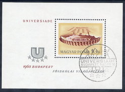 HUNGARY 1965 Universiade Games  Block Used.  Michel Block 50 - Blocks & Sheetlets