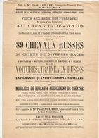 AFFICHE 1895 CHAMPS DE MARS PARIS - VENTE AUX ENCHERES CHEVAUX TRAINEAUX RUSSES - Me PAUL AULARD - Equitation