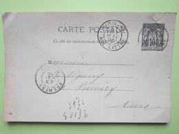 Carte Postale Oblitérée à PARIS R.LITTRE (75) & PREMERY (58) écrite à  PARIS Le 7/05/1896 - Entier Type Sage Noir 10c - Entiers Postaux