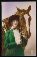 FOTOKAART - DAME MET PAARD  / CHEVAL - Horses