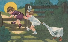 Illustrateur : Enfants Poursuivis Par Une Oie ( à Définir ) - 1900-1949