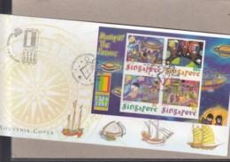 Singapur Michel Cat.No. Sheet 76 Souvenir Cover Special Expo Cls Usa 2000 (3) - Singapour (1959-...)