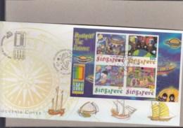 Singapur Michel Cat.No. Sheet 76 Souvenir Cover Special Expo Cls Usa 2000 (4) - Singapore (1959-...)