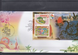Singapur Michel Cat.No. Sheet 78 Souvenir Cover Special Expo Cls Hong Kong 2001 (3) - Singapur (1959-...)