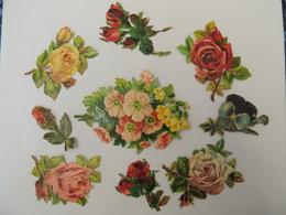 Découpis / Découpi - Ensemble De Fleurs Roses, Pensées  Chromo -  3A4 - Découpis