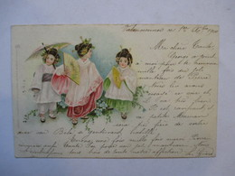 TROIS  PETITES  FILLES  JAPONAISES        PRECURSEUR  DE 1900      PT. PLI BAS G. - Illustrateurs & Photographes