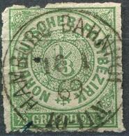 NDP 1/3 Gr Freimarke Michel 2 O HAMBURG BAHNHOF, Einkerbung Am Oberen Rand (2-212) - Norddeutscher Postbezirk