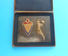 YUGOSLAVIA SINGLES CHAMPIONSHIP IN TENNIS - 1955. SUBOTICA ... Enamel Plaque In Original Case * TK Spartak Serbia RRRR - Tennis