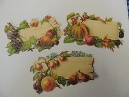 Découpis / Découpi - Porte Noms, étiquettes Fruits Melon, Raisin Poire-  Chromo -  3B2 - Découpis