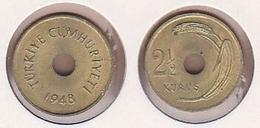 AC - TURKEY  2.5 KURUS 1948 BRASS COIN KM # 885 UNCIRCULATED - Monnaies & Billets