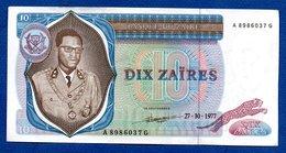 Zaire  -  10 Zaires  27/10/1977  - Pick # 23  - état  SUP - Zaïre