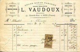 89.YONNE.SENS.MERCERIE.BIMBELOTERIE.JOUETS.L.VAUDOUX GRAND BAZAR PARISIEN 77 GRANDE RUE. - Textile & Vestimentaire
