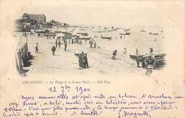 2 CPA 33 Gironde Arcachon La Plage Et Le Grand Hôtel - ND Phot. Précurseur Circulé 1900 + La Jetée Promenade - Arcachon