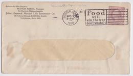 Marsh Hancock Boston Usa Mail Cover Slogan 1918 WW1 Food Will Win The War Don't Waste It Enveloppe Grande Guerre - Militaria