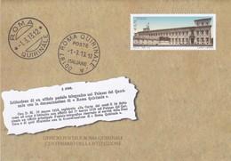 POSTE ITALIANE BUSTA UFFICIO POSTALE ROMA QUIRINALE CENTENARIO DELLA ISTITUZIONE 2013 - 6. 1946-.. Repubblica