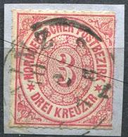 NDP 3 Kr Freimarke Michel 9 O K1 MAINZ, SCHWARZE LINIE NUR IM SCAN (2-229) - Norddeutscher Postbezirk