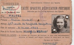 CARTE SPORTIVE D EDUCATION PHYSIQUE HOCKEY CLUB ROUEN 1943 - Cartes