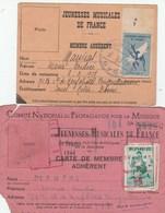 2 CARTES JEUNESSES MUSICALES DE FRANCE JMF ADHERENT 1944/45 -1945/46 - ROUEN - Musique & Instruments