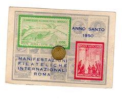 D0363 CARTOLINA ANNO SANTO 1950 MANIFESTAZIONI FILATELICHE INTERNAZIONALI ROMA - Francobolli (rappresentazioni)