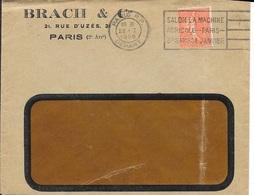 SEINE 75 - PARIS RP DEPART - FLAMME N° A 00 158 F - VOIR DESCRIPTION - 1929 - SUR ENVELOPPE .BRACH ET CIE - Marcophilie (Lettres)