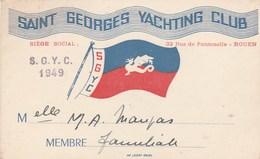 Saint Georges Yachting Club Rouen Carte De Membre 1949 - Sports