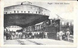 ITALIE - Chemins De Fer - FOGGIA - Interno Della Stazione - Train - Locomotive Vapeur - Animation - Circulé 1918 - - Italy