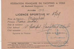 LICENCE SPORTIVE FEDERATION FR DU YACHTING A VOILE PARIS 1948 - Sports
