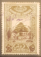 "NO11 #147 - Lebanon 1942 Cedar Design 3p60 Fiscal Revenue Overprinted ""25"" And Beit-ed-Din Palace - Lebanon"