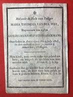 Anno 1825 - PERKAMENT - PARCHEMIN - MARIA VAN DER WEE Huysvrouw Wylen GUILIELMUS BRAECKMANS - ANTWERPEN 1825 - Devotion Images