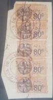 NO11 - Lebanon 1927 French Fiscal 80c Ovptd 4 Ps Droit Fiscal Blk/5 : PAIX DE BEYROUTH (Court) - Lebanon