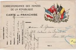 A28 / Carte FM / Franchise Militaire / 5 Drapeaux - 1914-18
