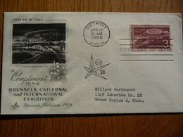 USA UNITED STATES FDC COMPLIMENT TO THE BRUSSELS UNIVERSAL AND INTERNATIONAL EXHIBITION 17-04-1958 - Eerste Uitgaves (FDC)